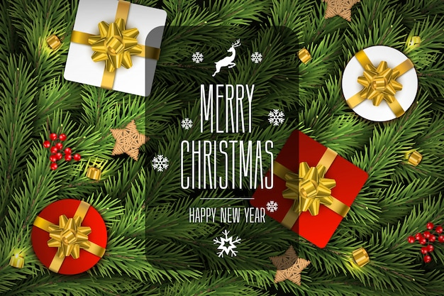Christmas vector composition background of fir brances.