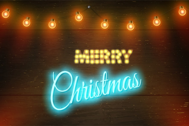 Christmas vector composition on dark wooden background with wishes and garland.