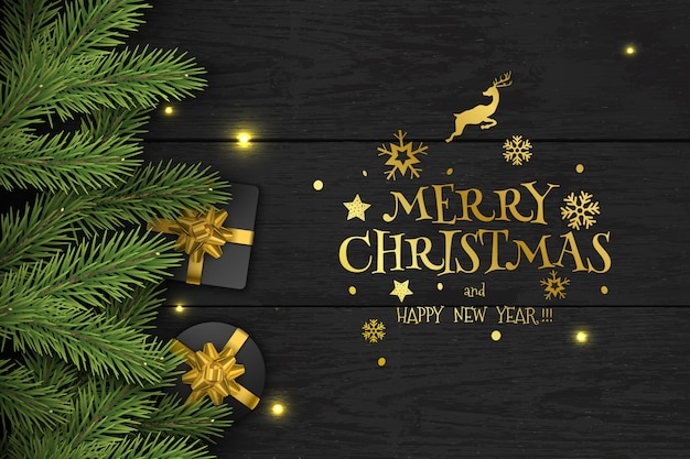 Christmas vector composition on dark wooden background