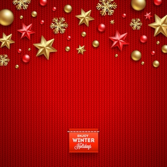 Christmas vector design - holidays decorations and label with greeting on a knitted red background.