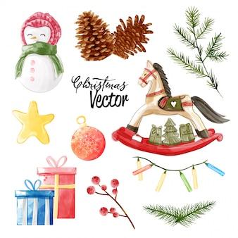 Рождественская векторная коллекция элементов в акварельной живописи.