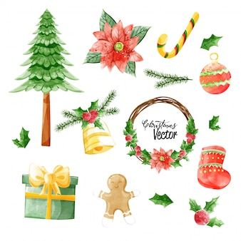 Christmas vector elements collection in watercolor paining style.