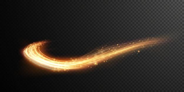 크리스마스 벡터 불 같은 물결 모양의 황금 꼬리 빛 섬세 한 황금 물결 모양의 라인 휴일 디자인 요소입니다.