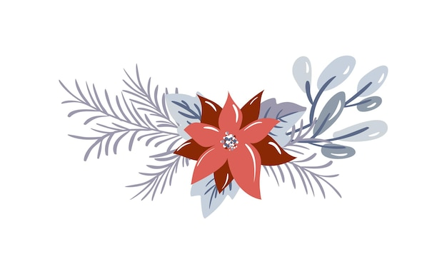 Christmas vector floral bouquet with berries and fir winter branches