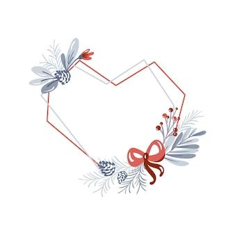 冬のテキストのための場所と花束の花輪の愛とクリスマスベクトル幾何学的なハートフレーム。