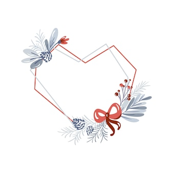 Christmas vector geometric heart frame with bouquet wreath love with place for winter text.