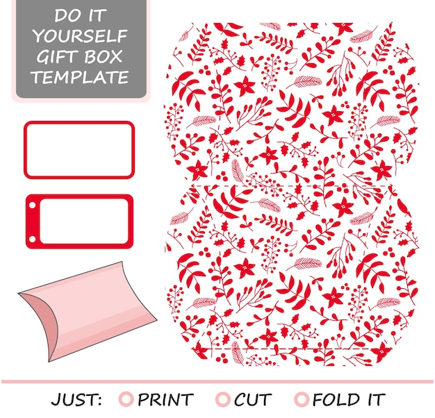 Christmas vector gift packaging template.