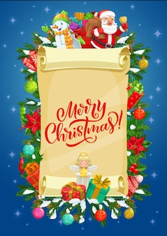 Christmas vector greeting card of paper scroll with santa, snowman and gifts.