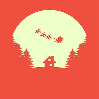 Christmas vector greeting card. santa claus with reindeer.