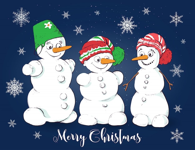 Christmas vector greeting card with cute snowmen.