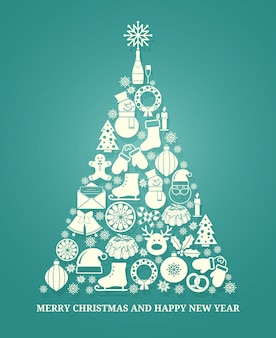 Christmas vector greeting card with a tree composed of a variety of seasonal icons in white silhouette arranged in the shape of a conical tree on blue with text below for xmas and new year