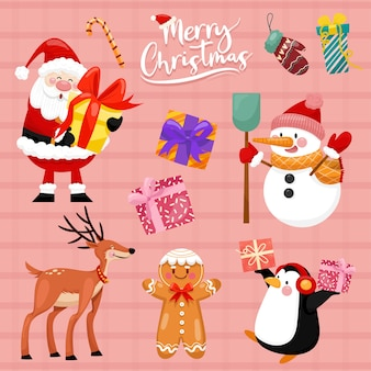 Christmas vector icons new year decoration illustration of xmas christians