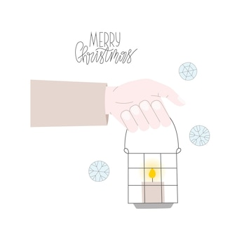 Christmas vector iilustration with lantern for card, message, mail. lettering merry