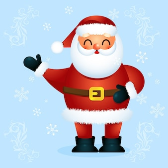 クリスマスのベクトルイラスト。手を上げて赤い帽子をかぶった面白い漫画サンタクロースはあなたにメリークリスマスを願っていますクリスマスと新年のカード、ポスター、ギフトタグラベル、ウェブサイトの装飾に最適