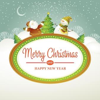 Рождественские векторные иллюстрации со снеговиком eps 10