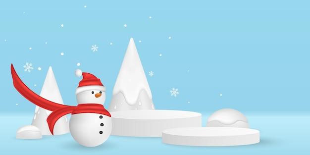 あなたの製品を表示するためのクリスマスベクトル最小限の3dシーン。雪片と装飾的なモミの木の背景に感情的な漫画の雪だるま。表彰台のプラットフォーム。 eps 10