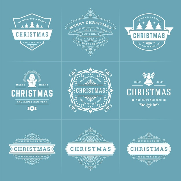 Christmas vector ornate labels and badges set with happy new year holidays wishes typography for