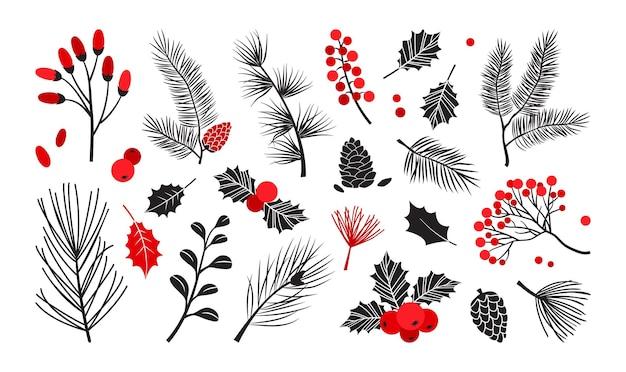 크리스마스 벡터 식물, 홀리 겨울 장식, 크리스마스 트리, 소나무, 잎 가지, 흰색 배경에 격리된 휴가 세트. 빨간색과 검은색 색상입니다. 빈티지 자연 그림