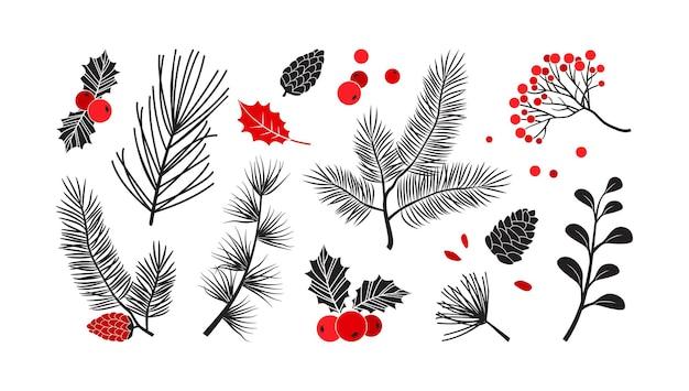 크리스마스 벡터 식물, 홀리 겨울 장식, 크리스마스 트리, 소나무, 나뭇잎 가지, 휴일 세트. 빨간색과 검은색 색상입니다. 빈티지 자연 그림