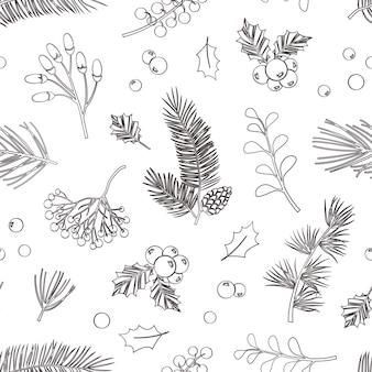 크리스마스 벡터 식물 완벽 한 패턴입니다. 홀리 베리, 크리스마스 트리, 소나무, 나뭇잎 가지, 휴일 장식, 겨울 빈티지 자연 배경