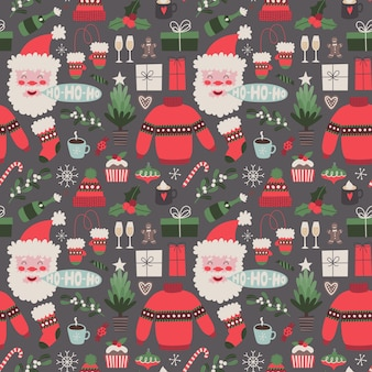 Christmas vector seamless pattern on dark background holiday illustration with traditional elements