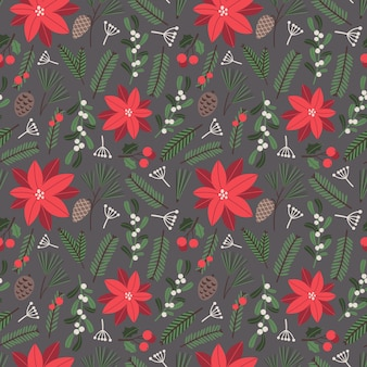 Christmas vector seamless pattern  with poinsettia christmas tree branches mistletoe