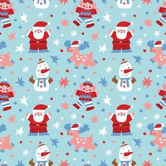 サンタクロースと彼のアシスタントとのクリスマスベクトルシームレスパターン。