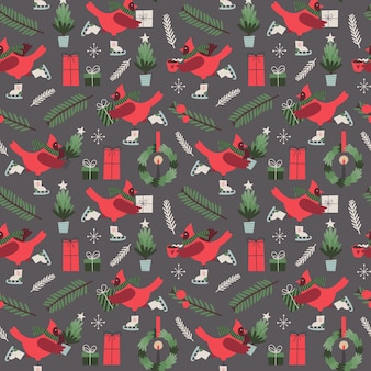 Christmas vector seamless pattern with stylized cardinal bird on skates and gifts