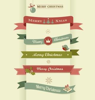 Рождественский векторный набор лент