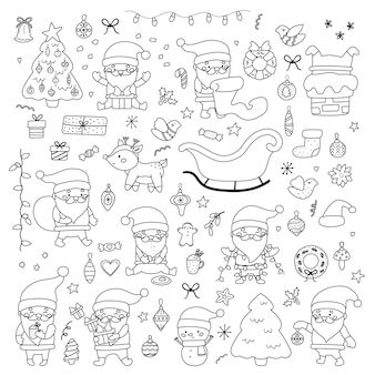 산타, 가문비 나무, 선물, 눈사람, 사슴, 과자 및 장식 세트 크리스마스 벡터