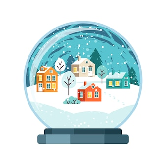 Christmas vector snow globe with small houses