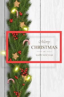 Christmas vector on white wooden background with wishes, pine branches.