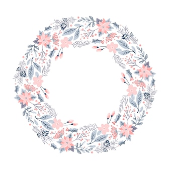 Christmas vector wreath with pink flowers