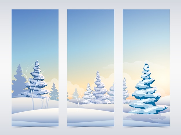 Christmas vertical banners with fairy winter landscape snowy fir trees and sky