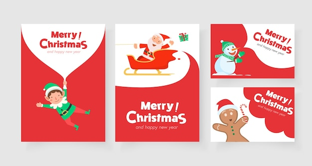 Christmas vertical card with santa claus reindeer and santa helper