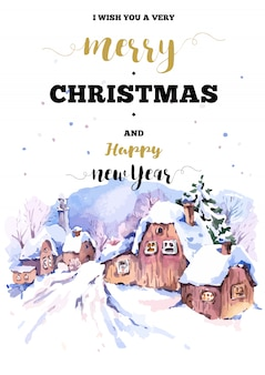 Christmas vertical frame card with winter landscape greet