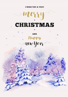 Christmas vertical frame vector card with winter landscape greet