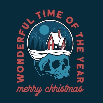 Christmas vibes in the glass on top of the skull