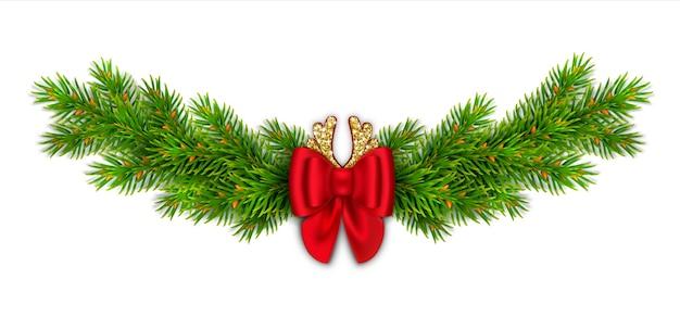 전나무 가지, 리본 및 골드 반짝이와 붉은 나비 크리스마스 장식 무늬. 만화 사슴 뿔. 가정을위한 새해 장식.