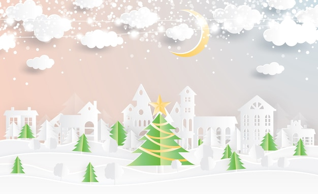 Christmas village and christmas tree in paper cut style. winter landscape with moon