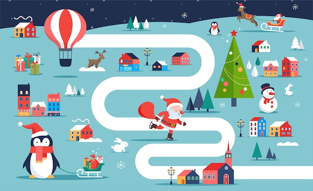 クリスマスの村の地図、冬の町、イラストやキャラクターとボードゲーム。