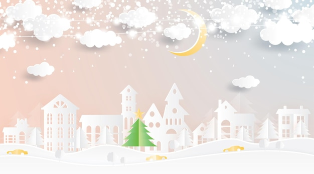 Christmas village in paper cut style. winter landscape with moon and clouds.
