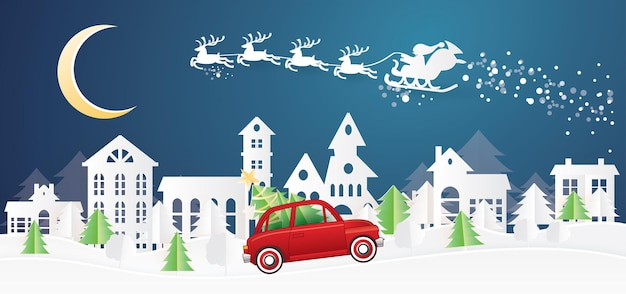 Christmas village and santa claus in sleigh in paper cut style. red truck carry christmas tree. winter landscape with moon.