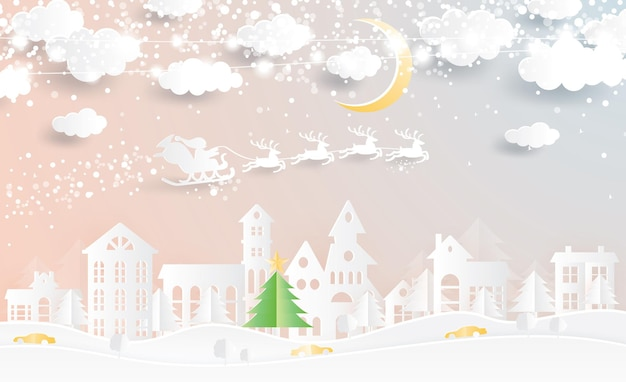 Christmas village and santa claus in sleigh in paper cut style. winter landscape with moon and clouds. vector illustration. merry christmas and happy new year.
