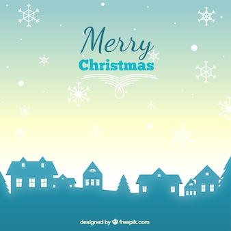 Christmas village silhouette background Premium Vector