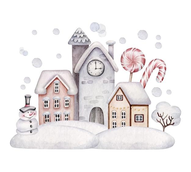 クリスマスの村。冬の風景。雪の中の家。