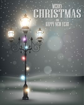 Christmas vintage background with lamp