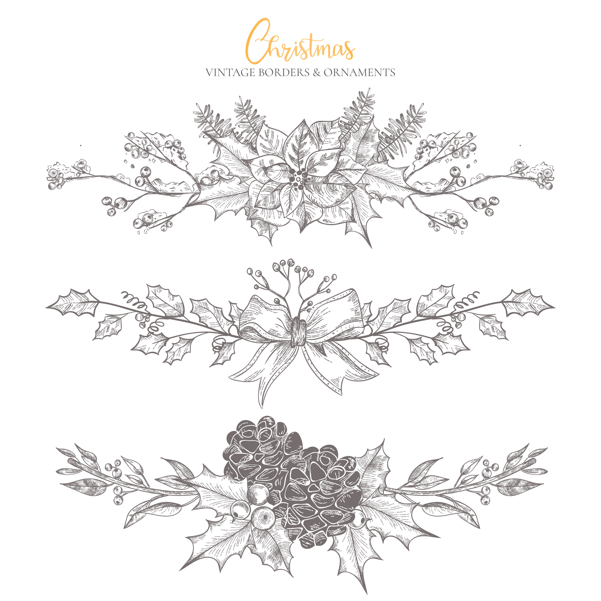 Christmas Vintage Borders & Ornaments Collection