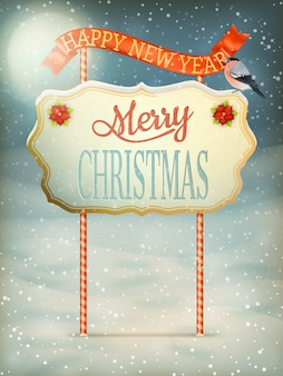 Christmas vintage card with signboard.
