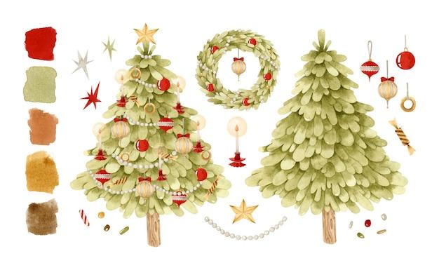 クリスマスヴィンテージ装飾ツリーと花輪水彩イラストクリップアート